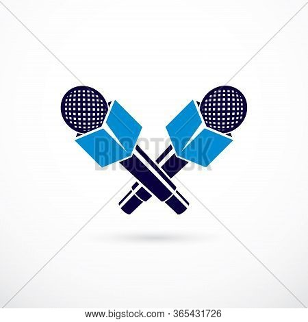Press Microphones Vector Illustration, Isolated On White. Journalism Concept.