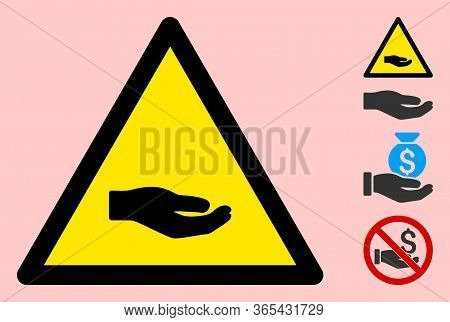 Vector Beggar Hand Flat Warning Sign. Triangle Icon Uses Black And Yellow Colors. Symbol Style Is A