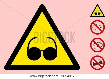 Vector Blind Flat Warning Sign. Triangle Icon Uses Black And Yellow Colors. Symbol Style Is A Flat B