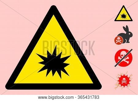 Vector Boom Flat Warning Sign. Triangle Icon Uses Black And Yellow Colors. Symbol Style Is A Flat Bo