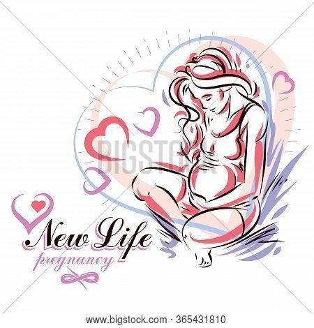 Pregnant Female Body Shape Hand Drawn Vector Illustration, Beautiful Lady Gently Touching Her Belly.