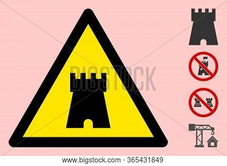 Vector Bulwark Tower Flat Warning Sign. Triangle Icon Uses Black And Yellow Colors. Symbol Style Is