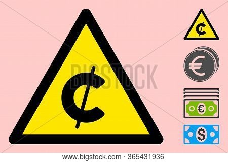 Vector Cent Flat Warning Sign. Triangle Icon Uses Black And Yellow Colors. Symbol Style Is A Flat Ce