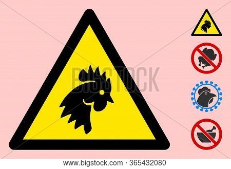 Vector Cock Flat Warning Sign. Triangle Icon Uses Black And Yellow Colors. Symbol Style Is A Flat Co