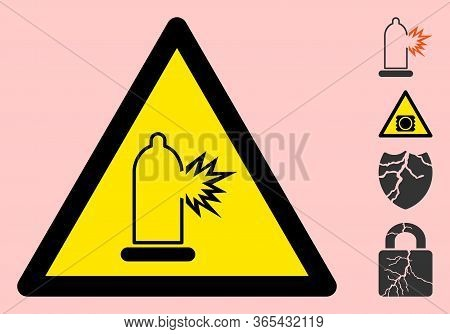 Vector Condom Damage Flat Warning Sign. Triangle Icon Uses Black And Yellow Colors. Symbol Style Is