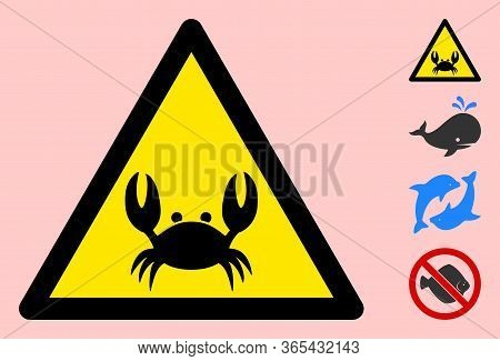 Vector Crab Flat Warning Sign. Triangle Icon Uses Black And Yellow Colors. Symbol Style Is A Flat Cr