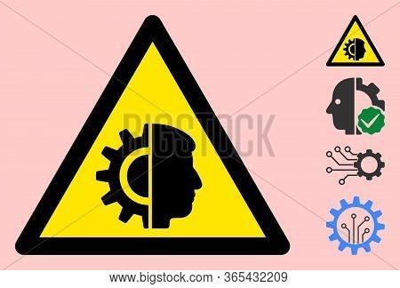 Vector Cyborg Flat Warning Sign. Triangle Icon Uses Black And Yellow Colors. Symbol Style Is A Flat