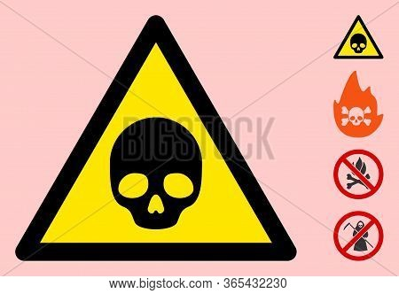Vector Deadly Flat Warning Sign. Triangle Icon Uses Black And Yellow Colors. Symbol Style Is A Flat