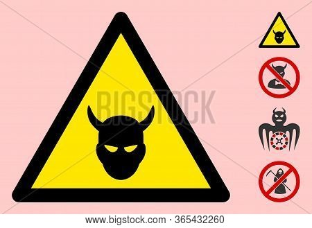 Vector Devil Head Flat Warning Sign. Triangle Icon Uses Black And Yellow Colors. Symbol Style Is A F