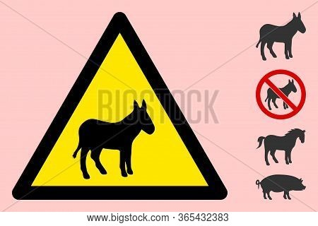 Vector Donkey Flat Warning Sign. Triangle Icon Uses Black And Yellow Colors. Symbol Style Is A Flat