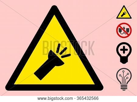 Vector Electric Torch Flat Warning Sign. Triangle Icon Uses Black And Yellow Colors. Symbol Style Is