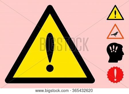Vector Exclamation Flat Warning Sign. Triangle Icon Uses Black And Yellow Colors. Symbol Style Is A