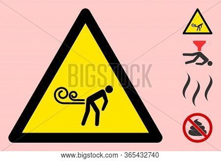 Vector Fart Winds Flat Warning Sign. Triangle Icon Uses Black And Yellow Colors. Symbol Style Is A F