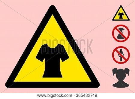 Vector Female Blouse Flat Warning Sign. Triangle Icon Uses Black And Yellow Colors. Symbol Style Is