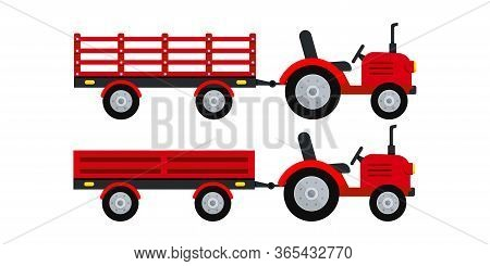 Farmer Tractor With Trailer Icon Set Isolated On White Background. Small Red Tractor Pulling Differe