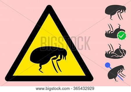 Vector Flea Flat Warning Sign. Triangle Icon Uses Black And Yellow Colors. Symbol Style Is A Flat Fl