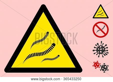 Vector Helminth Worms Flat Warning Sign. Triangle Icon Uses Black And Yellow Colors. Symbol Style Is