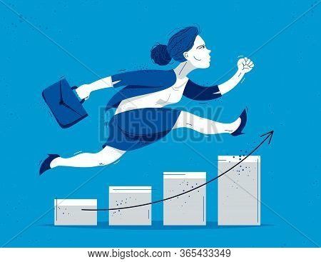 Business Woman Run And Hurry On Growth Chart Graph Vector Illustration, Funny Comic Cute Cartoon Acc