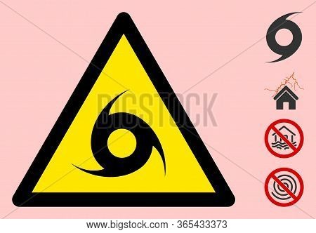 Vector Hurricane Flat Warning Sign. Triangle Icon Uses Black And Yellow Colors. Symbol Style Is A Fl