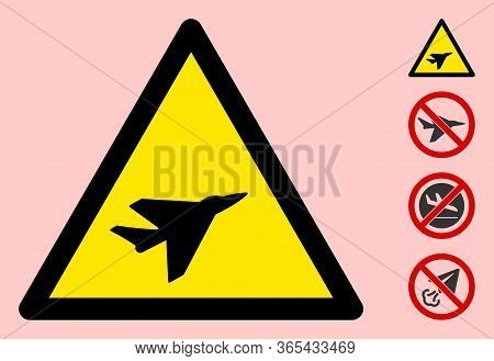 Vector Intercepter Airplane Flat Warning Sign. Triangle Icon Uses Black And Yellow Colors. Symbol St