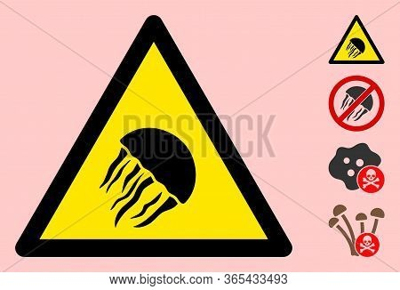 Vector Jelly Fish Flat Warning Sign. Triangle Icon Uses Black And Yellow Colors. Symbol Style Is A F