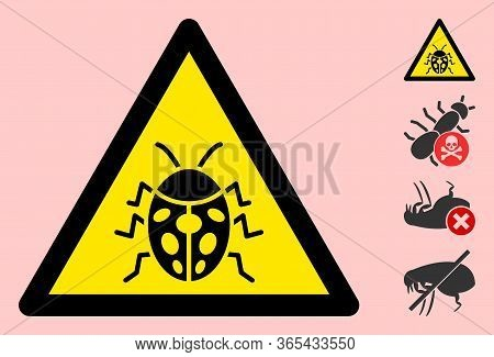 Vector Ladybug Flat Warning Sign. Triangle Icon Uses Black And Yellow Colors. Symbol Style Is A Flat