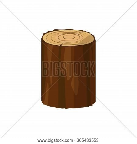 Wooden Stump Illustration. Log, Tree Trunk, Saw Cut. Wood Concept. Can Be Used For Topics Like Natur