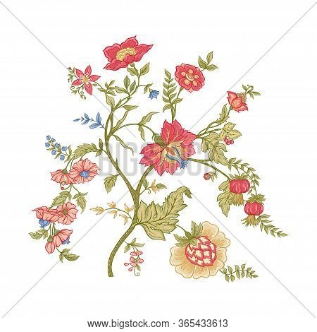 Fantasy Flowers In Retro, Vintage, Jacobean Embroidery Style. Embroidery Imitation Isolated On White