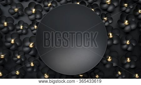 3d Render Of Black Round Plate On Black Flowers. Perfect Mockup For Placing Your Text. Black And Gol