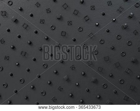 3d Render Background With Black Geometry Figures On Black Paper. Perfect Minimalist Pattern. Place F