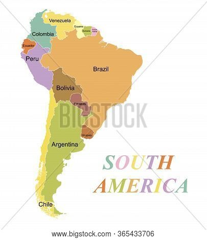Highly Detailed Map Of The Continent Of South America. Colored Silhouette With Borders And Country N