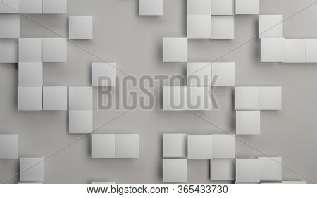 3d Render Of White And Gray Ceramic Tiles Over Paper Background. Minimalist Abstract Backgorund Or B