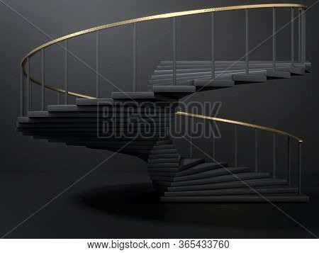3d Render Of Black Spiral Staircase With Golden Handrail In Empty Dark Room. Concept Of Leadershi An