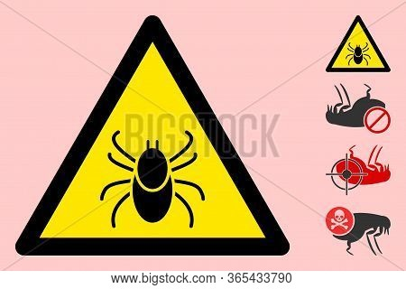 Vector Mite Flat Warning Sign. Triangle Icon Uses Black And Yellow Colors. Symbol Style Is A Flat Mi