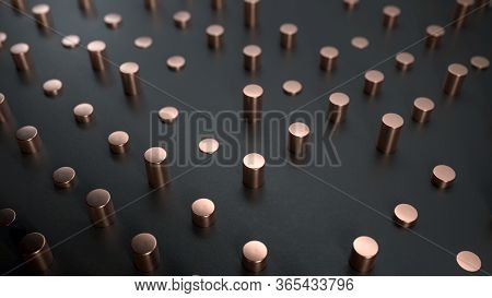 3d Render Of Copper Cylinders On Black Surface. Perfect Minimalist Abstract Background Or Backdrop I