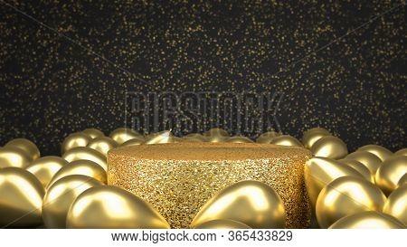 3d Render Of Golden Pedestal Or Podium Among Golden Balloons In Black Room. Perect Background For Pl