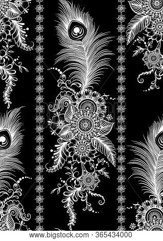 Peacock Feathers In Eastern Ethnic Style, Mehendi, Traditional Indian Henna Floral Ornament. Seamles