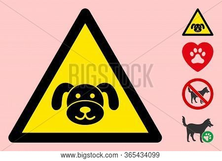 Vector Puppy Flat Warning Sign. Triangle Icon Uses Black And Yellow Colors. Symbol Style Is A Flat P