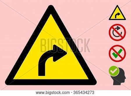 Vector Right Turn Flat Warning Sign. Triangle Icon Uses Black And Yellow Colors. Symbol Style Is A F