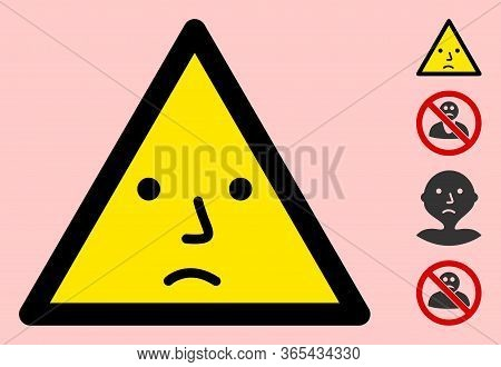 Vector Sad Emotion Flat Warning Sign. Triangle Icon Uses Black And Yellow Colors. Symbol Style Is A