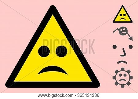 Vector Sad Mood Flat Warning Sign. Triangle Icon Uses Black And Yellow Colors. Symbol Style Is A Fla