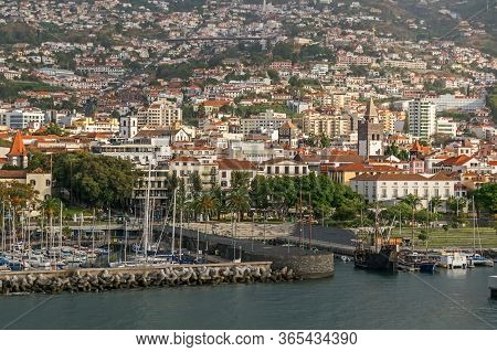 Cityscape Of Funchal With Its Historic Center And Cathedral Of Funchal (se Cathedral), Funchal Bay,