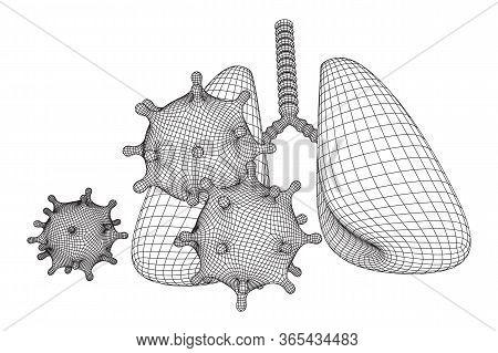 Corona Virus And Lungs With Trachea Bronchi Internal Organ Human. Covid Virus Pulmonology Medicine S