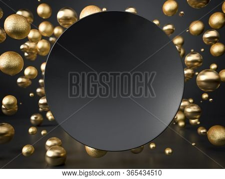 3d Render Of Black Round Plate Over Flying Golden Balls And Spheres. Perfect Illustration For Placin