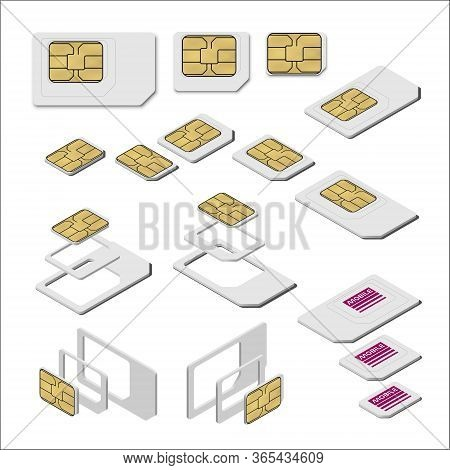 Three Types Of Sim Card - Standard, Micro And Nano. Top And Isometric Views. Realistic Vector Illust