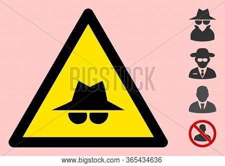 Vector Spy Flat Warning Sign. Triangle Icon Uses Black And Yellow Colors. Symbol Style Is A Flat Spy