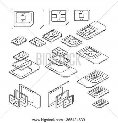 Three Types Of Sim Card - Standard, Micro And Nano. Top And Isometric Views. Vector Illustration In