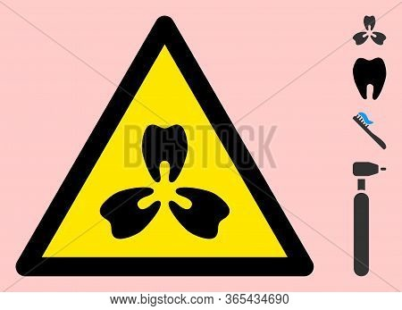 Vector Stomatology Flat Warning Sign. Triangle Icon Uses Black And Yellow Colors. Symbol Style Is A