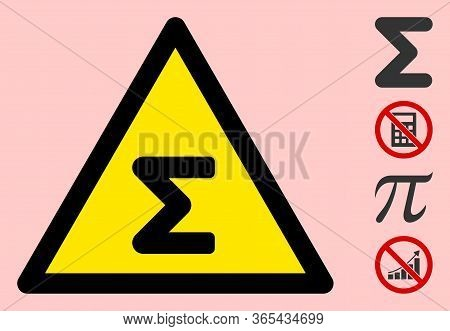 Vector Sum Flat Warning Sign. Triangle Icon Uses Black And Yellow Colors. Symbol Style Is A Flat Sum