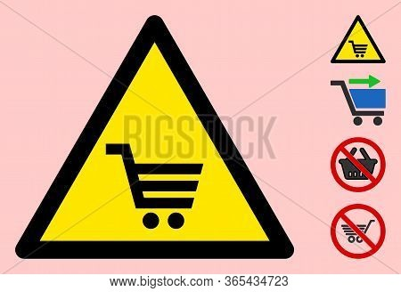 Vector Supermarket Trolley Flat Warning Sign. Triangle Icon Uses Black And Yellow Colors. Symbol Sty